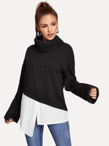 High Neck Asymmetrical Hem 2 in 1 Pullover