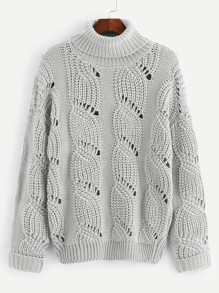 Plus Cuffed Sleeve Eyelet Jumper