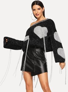 Fringe Detail Heart Pattern Metallic Jumper