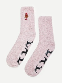 Christmas Embroidery Socks 1pair