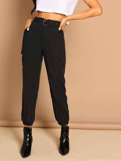 ae401b7b726a0 Slant Pocket Elastic Hem Solid Utility Pants