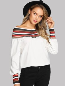 Striped Panel Off The Shoulder Blouse