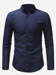 Men Solid Skinny Shirt