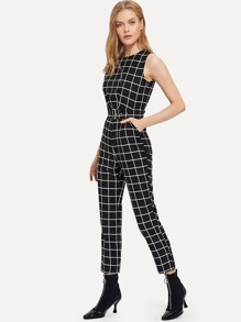 Plaid Belt Detail Jumpsuit