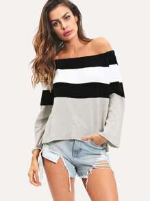Color-block Off The Shoulder Jumper