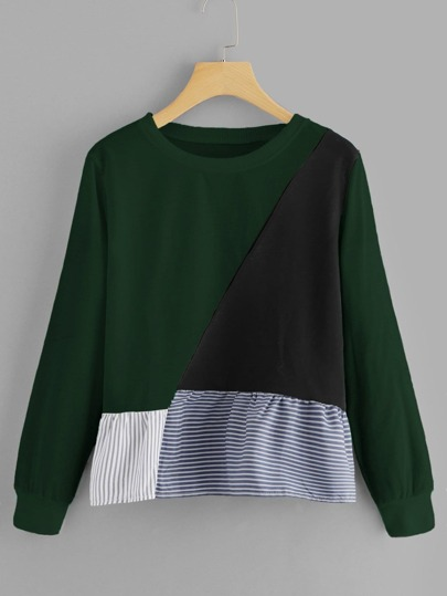 Ruffle Hem Cut And Sew Panel Sweatshirt
