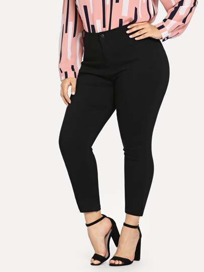Plus Solid Skinny Ankle Jeans