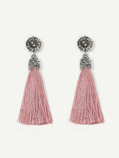 Rhinestone Detail Tassel Drop Earrings 1pair