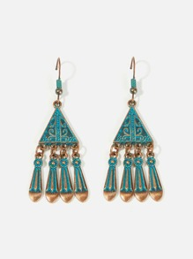 Triangle Shaped Fringe Drop Earrings 1pair