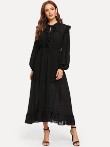 Tie Neck Ruffle Hem Pleated Bishop Sleeve Dress