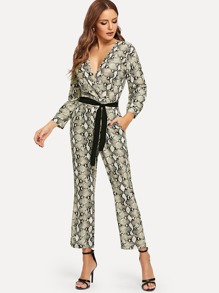 Snake Skin Belted Drop Shoulder Jumpsuit