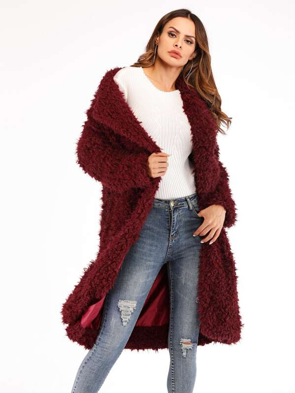 1b4ffdbf34 Cheap Waterfall Collar Solid Teddy Coat for sale Australia | SHEIN