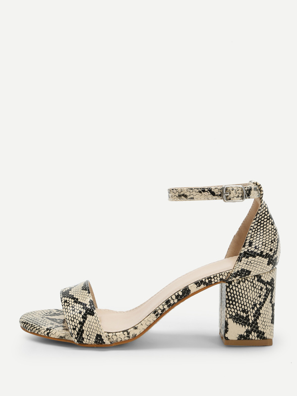 6125b23b70d7 Snakeskin Print Ankle Strap Heeled Sandals   SHEIN IN