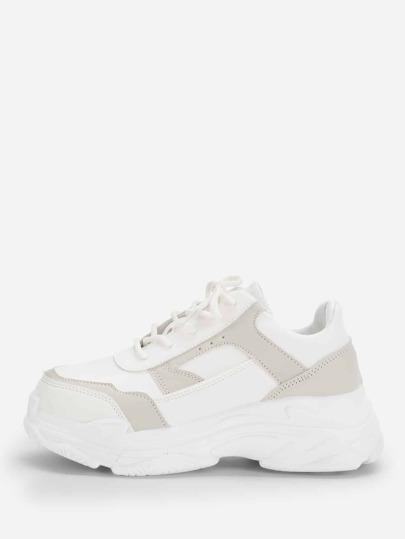 1ff25165a Zapatillas sólidas de suela gruesa con cordón