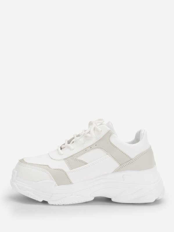 74d04e57b0 Solid Lace-up Chunky Sneakers | SHEIN IN