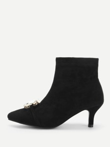 Solid Jewelled Suede Boots