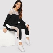 Fishnet Insert Pullover & Sweatpants Activewear Set