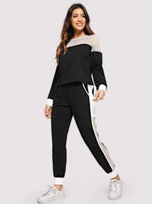 Fishnet Insert Pullover & Sweatpants Activewear Set