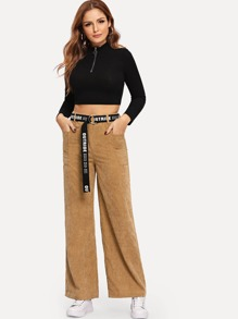 Pocket Side Wide Leg Corduroy Pants Without Belted