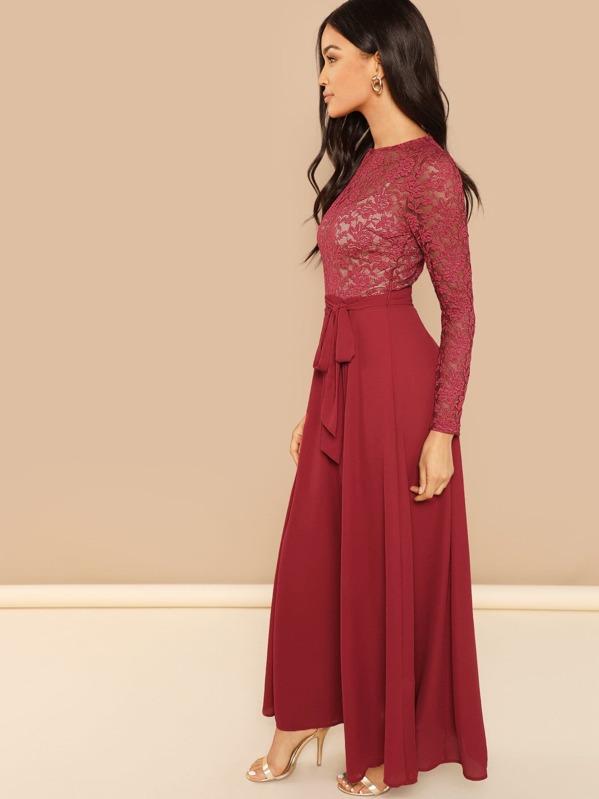 7e7f4003416 Sheer Lace Top Tie Waist Maxi Dress