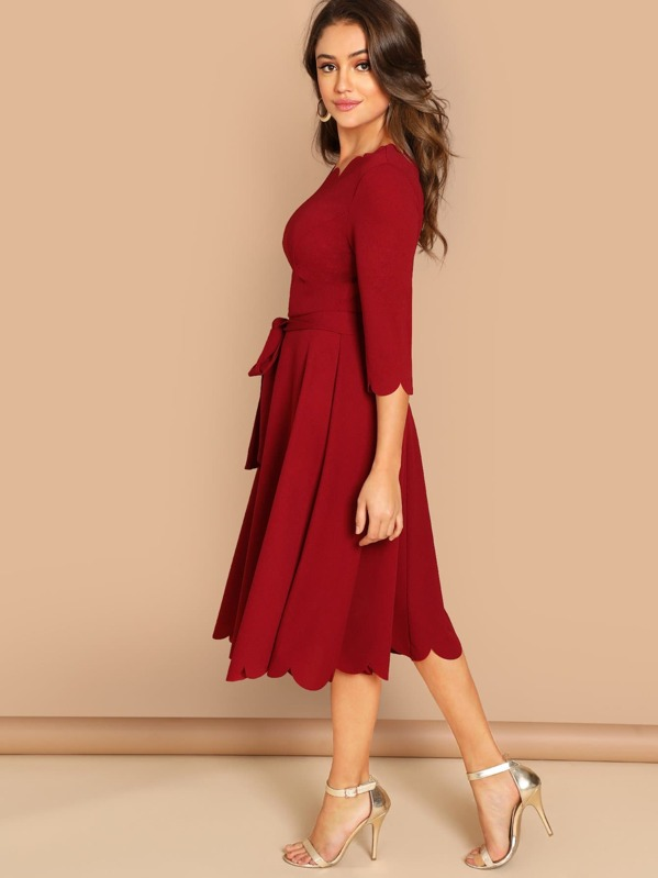 f2dc4decc6 Scallop Trim Fit & Flare Dress With Belt   SHEIN IN