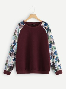 Plus Tropical Raglan Sleeve Textured Sweatshirt