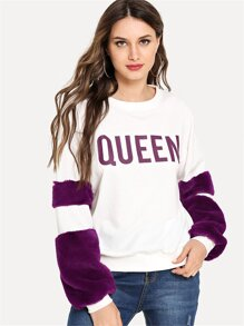 Faux Fur Embellished Letter Sweatshirt