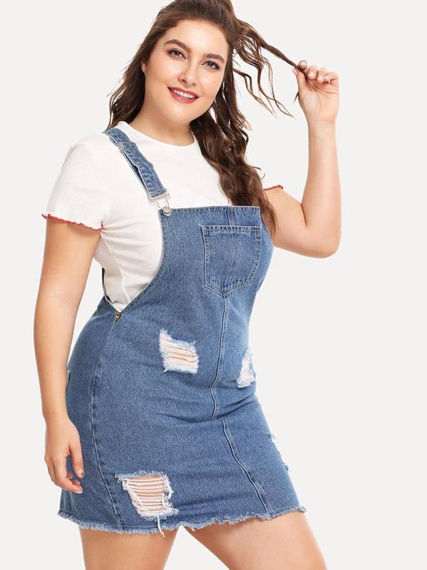 Plus Raw Hem Distressed Denim Overall Dress   SHEIN