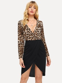 Leopard Print Surplice Dress