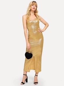 Slim Fitted Metallic Cami Dress