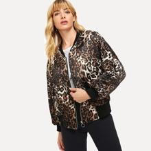 Leopard Print Zipper Bomber Jacket