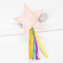 Girls Star Shaped Glitter Hair Clip 1pc