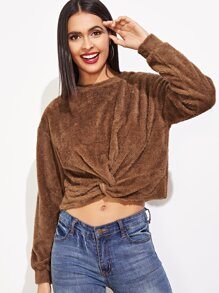 Twist Hem Solid Teddy Sweatshirt