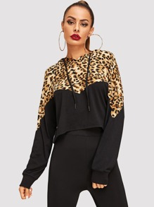 Cut-And-Sew Leopard Print Hoodie
