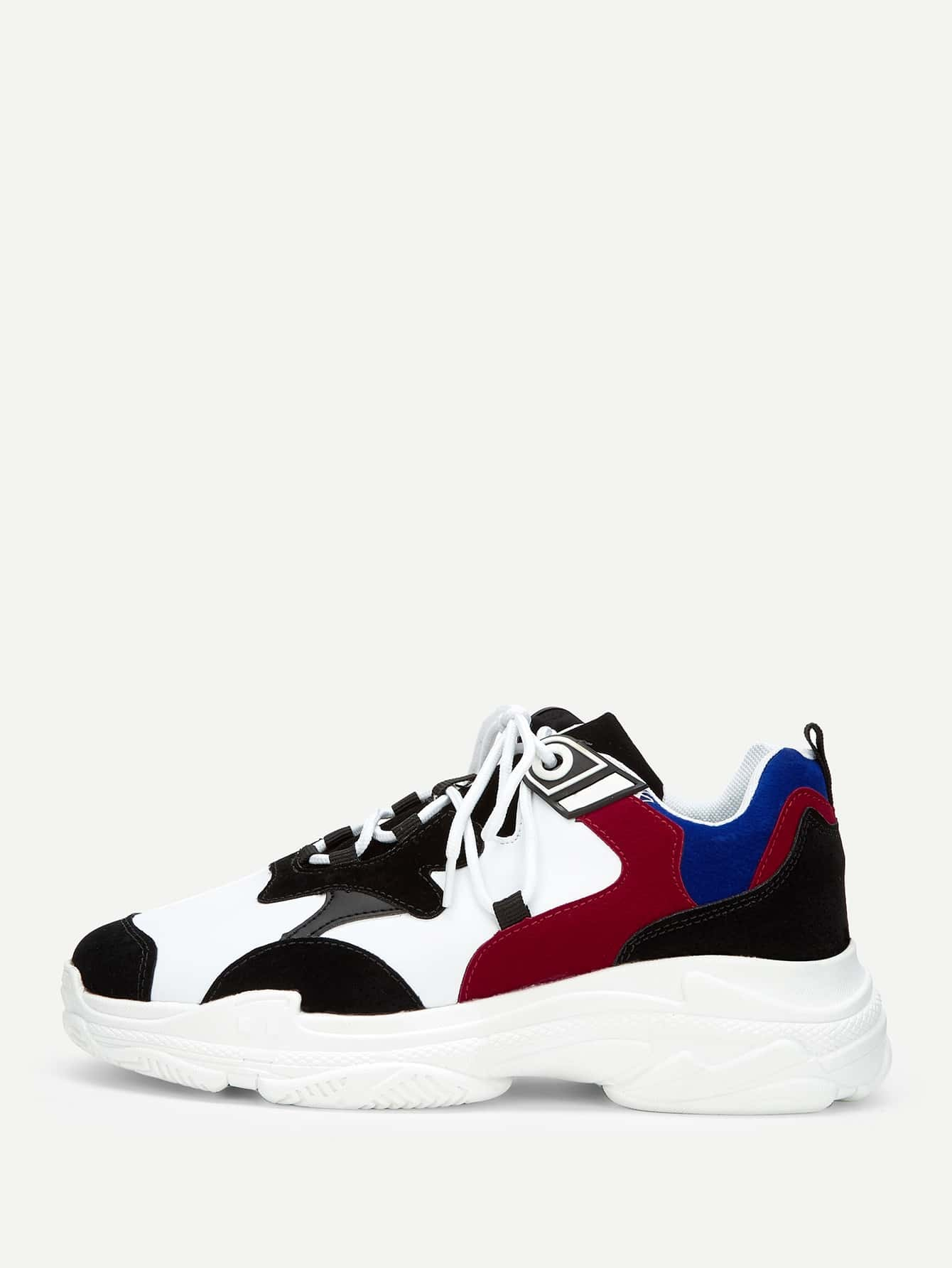 Men Lace Up Chunky Sole Trainers