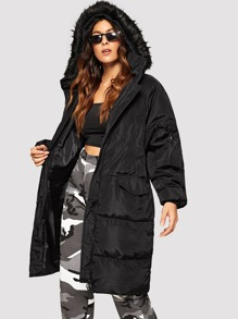 Zip-Up Hooded Puffer Coat