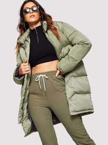Solid Zip-Up Puffer Coat