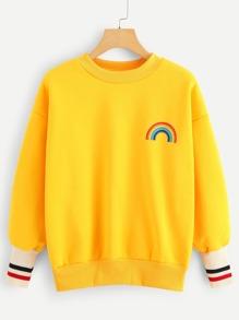 Rainbow Print Striped Panel Sweatshirt