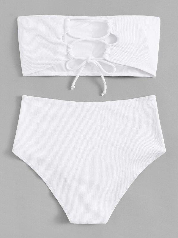 e157f1feb5 Plus Lace-up Ribbed Bandeau With High Waist Bikini | SHEIN