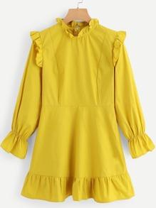 Flounce Sleeve Ruffle Hem Dress