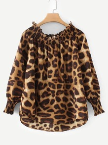 Off-shoulder Leopard Print Dip Hem Blouse