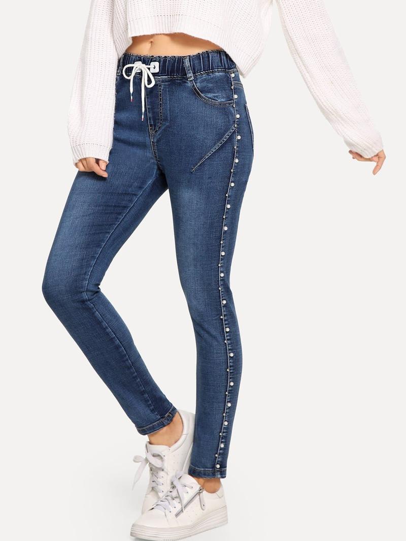 À Taille Jeans Et Avec Perle Cordon La EHW92IYD