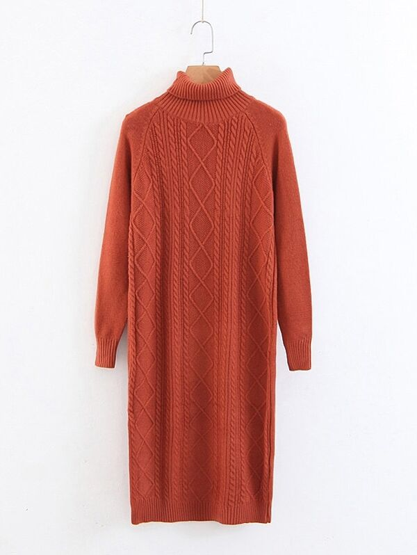 5ec45502aa7 Cable Knit High Neck Sweater Dress
