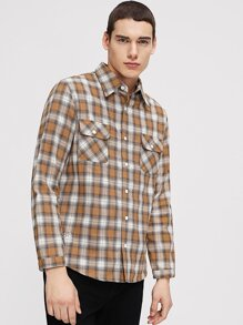 Men Pocket Plaid Shirt