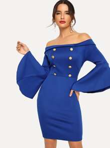 Off Shoulder Button Front Flounce Sleeve Dress