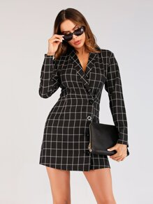 Plaid Single Breasted Blazer Dress