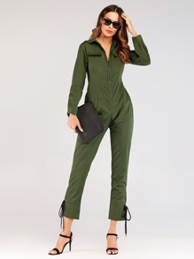 Lace-up Side Zip Jumpsuit