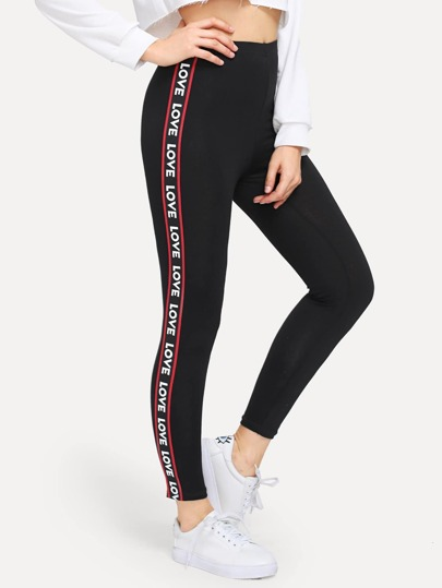 3ca7cac76 Contrast Letter Print Taped Side Leggings