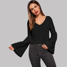 Bell Sleeve Ribbed Solid Sweater