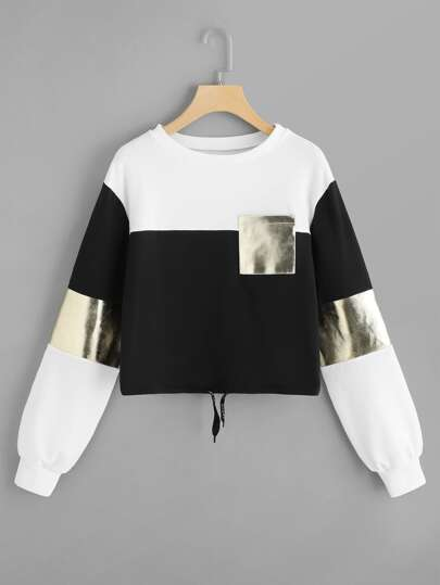 Drawstring Detail Color-block Sweatshirt